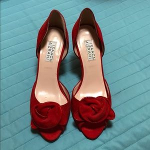 Isaac Mizrahi red suede rosette heels